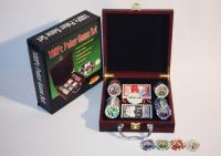 Покерный набор 100 фишек в деревянном кейсе